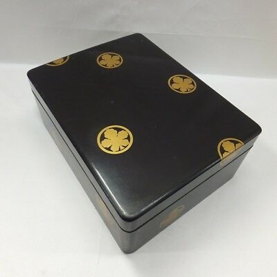F105: Japanese OLD lacquer ware hand box BUNKO with beautiful NASHIJI pattern