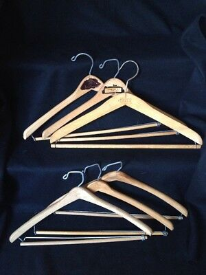 Vintage Wood Hangers For Men's Suit Lot Of 6 Advertising Curved