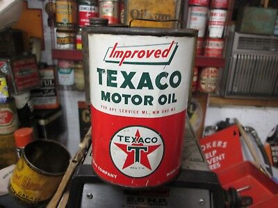 Early Original Texaco Improved Motor Oil One Quart Can Metal
