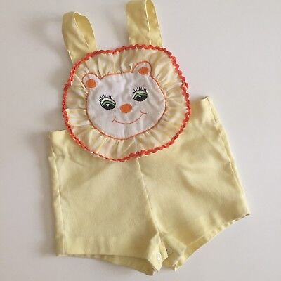 Vintage Lion Circus Sunsuit Romper Yellow Boy Girl 3m 6m Costume Outfit
