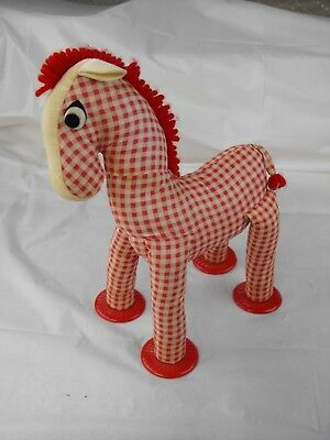 Vintage Knickerbocker Red & White Check Checkered Standing Stuffed Pony