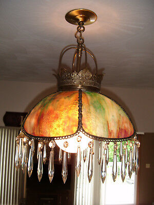 Antique Leaded Slag Christmas Glass Hanging Lamp w/36 Chandelier Crystal Prisms