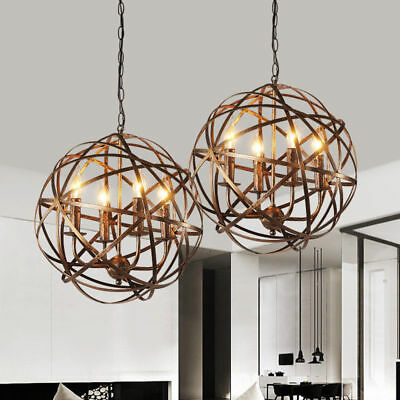 Industrial Wrought Iron Style Aged Brass Candle Chandelier Globe Pendant Light