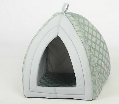 Folding Warm Fleece Soft Igloo Pet House Bed Cat Kitten Dog Puppy Padded Grey