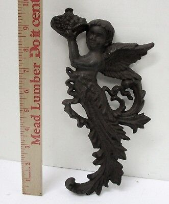 Cast Iron Metal Vintage Antique Victorian Wall Hanging Angel Plaque With Wings
