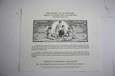 BEP 1972 ANA Souvenir Card $2 1896 Educational Note Silver Certificate