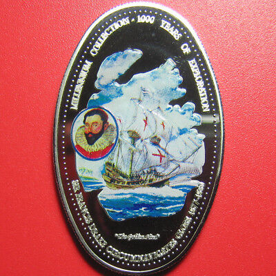 2000 Zambia 1000 Kwacha Cu-Ni Proof Sir Francis Drake Explorer Ship Oval Coin