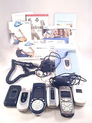Lot of 6 Vintage Cell Phones Various Manuels Chargers Nokia Samsung LG Prop