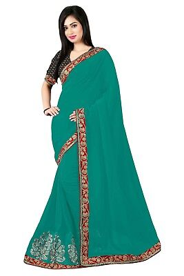 Indian bollywood  Embroidered  Valentines Georgette Festive Wear Women's Saree