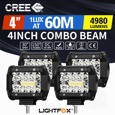 4X 4inch CREE LED Light Bar Spot Flood Beam Offroad Work Driving Fog Reverse 4WD