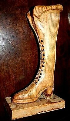Italian Boot,  Hand Carved in Spalted  Wood,  Lovely Display Piece.  Beautiful.