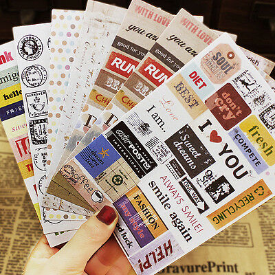 Set of 6 Vintage Style Label Travel STICKERS Holiday ScrapBooking Card Making