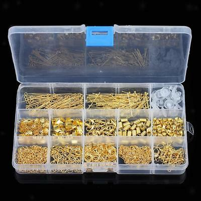 580pcs Jewelry Findings Kit Lobsters Clasp Jump Rings Jewelry Crafts Gold