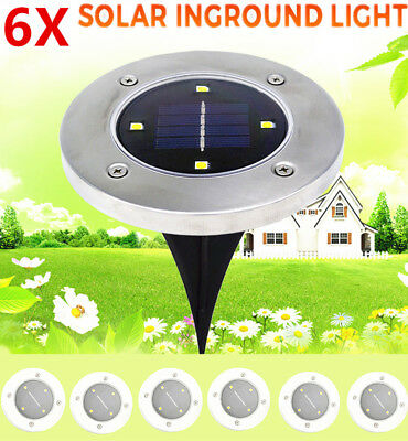 6 x Solar Powered 4 LED Buried Inground Recessed Lights Garden Outdoor Deck Path