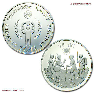 MORUZZI - Ethiopia 20 BIRR 1979 (120072) Year of the Child SILVER PROOF