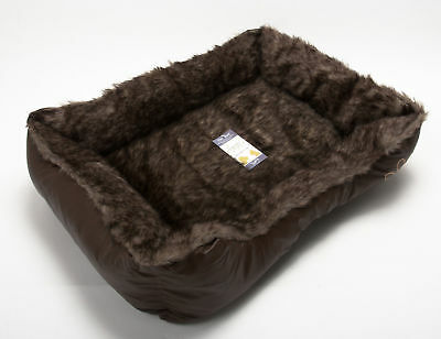 Dog Puppy Cat Kitten Pet Bed Cushion Basket Mat Fur & Leather Look Brown Large