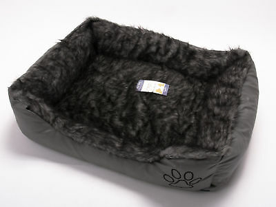 Dog Puppy Cat Kitten Pet Bed Cushion Basket Mat Fur & Leather Look Grey Large