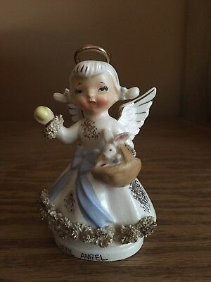 Vintage Lefton April Angel Easter Bunny Basket with Spaghetti Art trim AR1987N