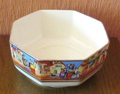 """Crown Ducal """"Cries of London""""  Octagonal Serving Bowl with Street Scenes."""