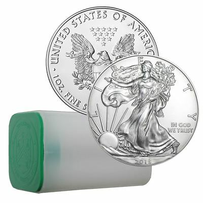 2018 American Silver Eagle 1 oz Coin | Sealed US Mint Roll of 20