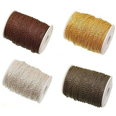 5/10M Gold Silver Cable Open Link Iron Metal Necklace Chain Makings Craft 3x2MM