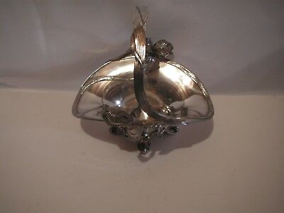 Old Art Nouveau Silverplate Figural Flower Basket, Homan Mfg.