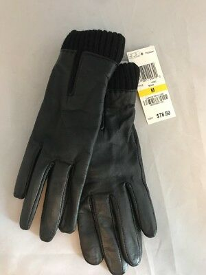 Charter Club Women's Soft Leather Gloves Fleece Lined Knit Cuff Black Size M New