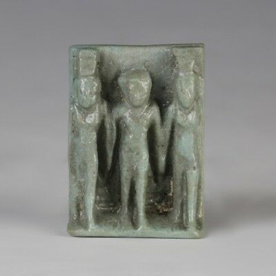 Glazed Egyptian Faience Osirian Triad Amulet