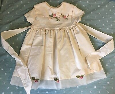 Vintage Bonnie Jean Flower Girl Dress Cream Colored 3T Embroidered Flowers