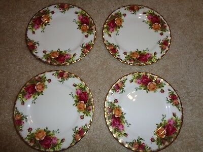 "4 Royal Albert Old Country Roses Bread Butter Plates 6 1/4"" Bone China England"