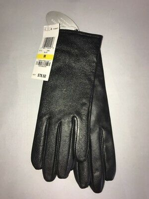 Charter Club Women's Leather Gloves Cashmere Lining Black Size M New $78