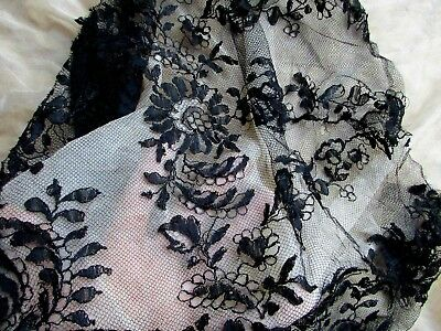 Gorgeous Antique Victorian French Pure Silk Chantilly Lace Fragment Ink Black