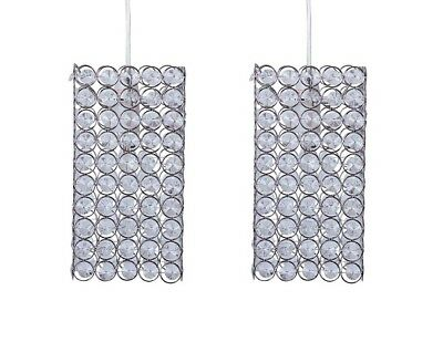 Pair of Modern Silver Chrome & Jewelled Square Easy Fit Ceiling Light Shades NEW