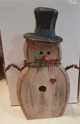 PRIMITIVE COUNTRY SNOWMAN WINTER Folk Art hand painted Bird house standing 9""