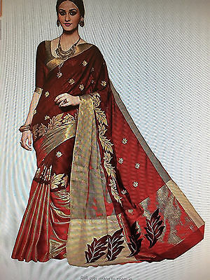 Bollywood Design Dark RedColour Cotton Silk Saree With Unstitched Blouse Piece