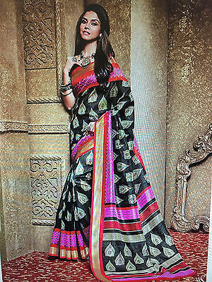 Indian Cotton Art Silk Printed Sarees & Unstitched Blouse Piece,Free Size