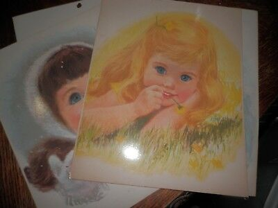 Vintage Lot of 4 Childrens Laminated Print Pictures