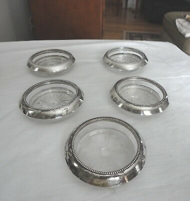 Set of 5 Frank Whiting 04 Sterling Silver Crystal Glass Coasters