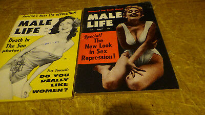 Rare Vintage Lot Of 2 Pocket Magazine's From 50's Called [Male Life]
