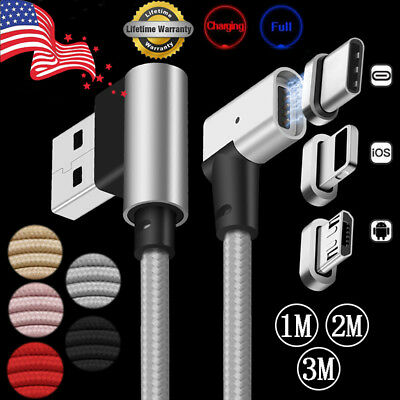 US 3/6/10ft 90° L-Design Magnetic USB-C Type-C/IOS/Micro USB Charger Data Cable