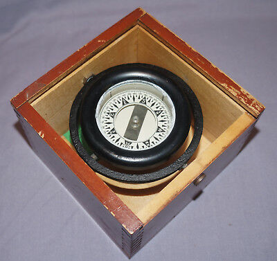 Antique 1945 WILCOX CRITTENDEN Ship's Gimbel Compass With Box And Dated Label