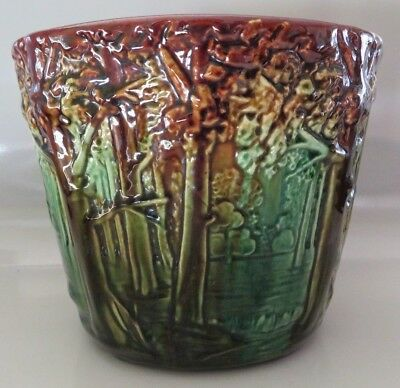 Antique Vtg Weller Art Pottery, Large Forest Jardiniere  7 3/4 Dia, Gloss Glaze