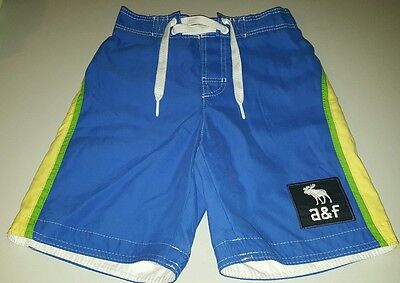 NWT Boys Abercrombie and Fitch Board Shorts Swim Trunks Blue Yellow Green Small