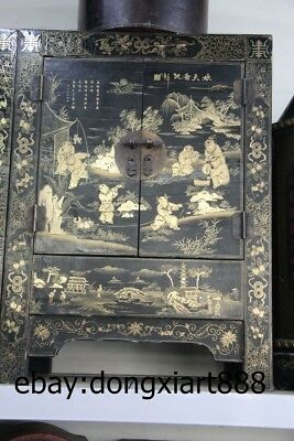 """31"""" Chinese Wood Painted Lucky Children Boy Armoire wooden cupboard Crate Chests"""