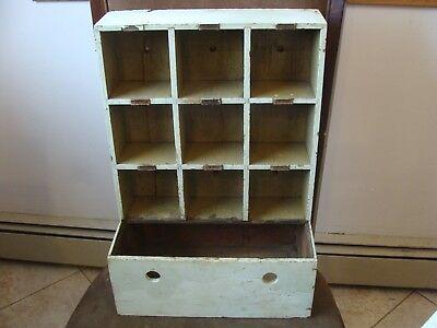 Antique wood primitive country farm file storage cabinet cubby hole wall box
