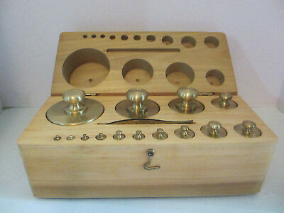 Antique 14 Pc Set Brass Scale Weights In Hardwood Box#28