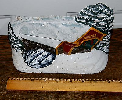 Vintage Cast Iron Covered Bridge Winter Snow Scene Hubley Doorstop # 149 Clean