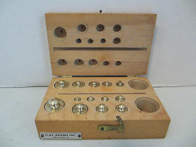 Antique 13 Pc Set Brass Scale Weights By Clay-Adams  #102