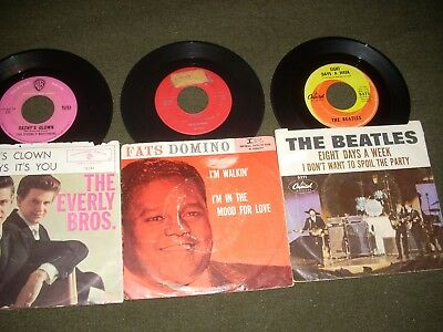 Box of 75 Rock & Roll 45's from the 50's & 60's, some picture sleeves