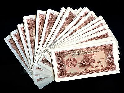 Lot of 108 Laos 20 Kip Currency Notes & 20c Coins #105099 R
